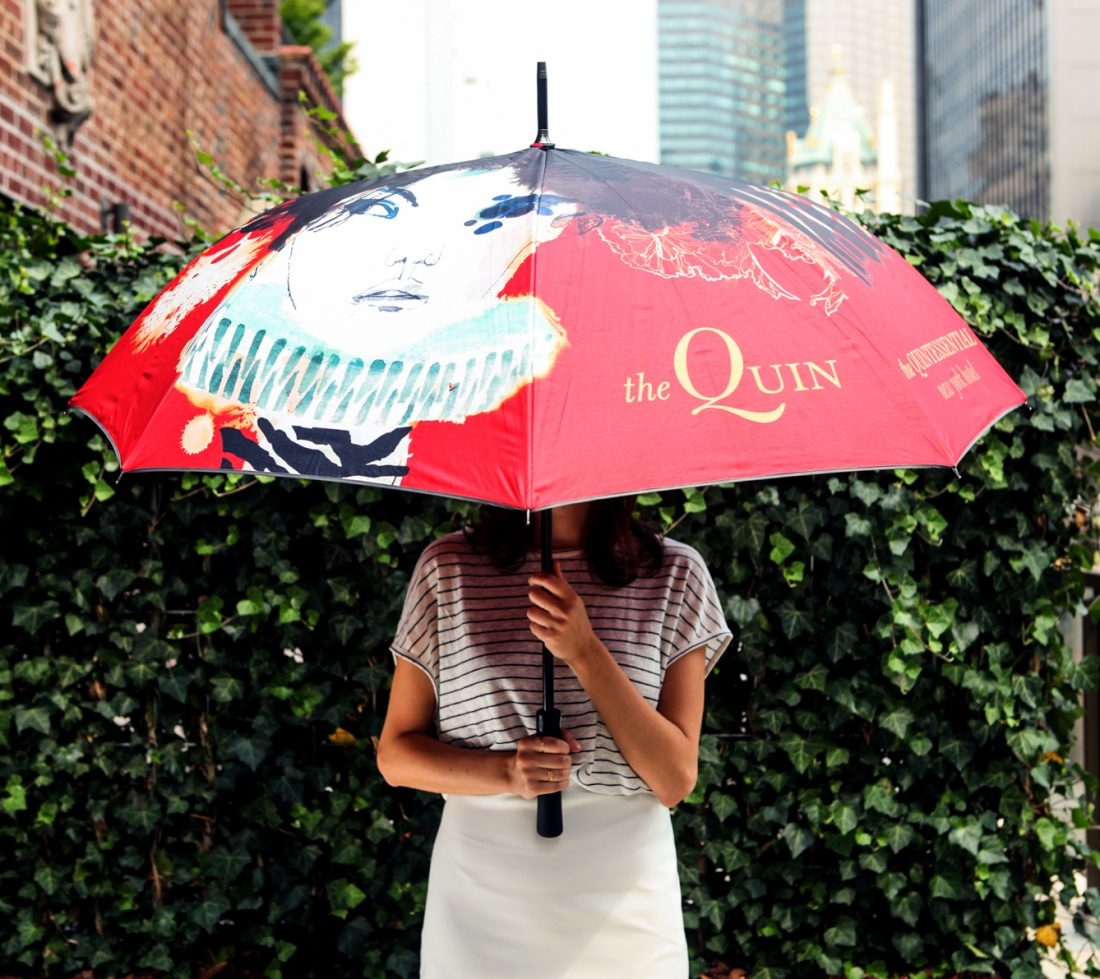 creative customized umbrella for luxury boutique hotel in NYC, unique artwork, illustrations by Daniel Egneus