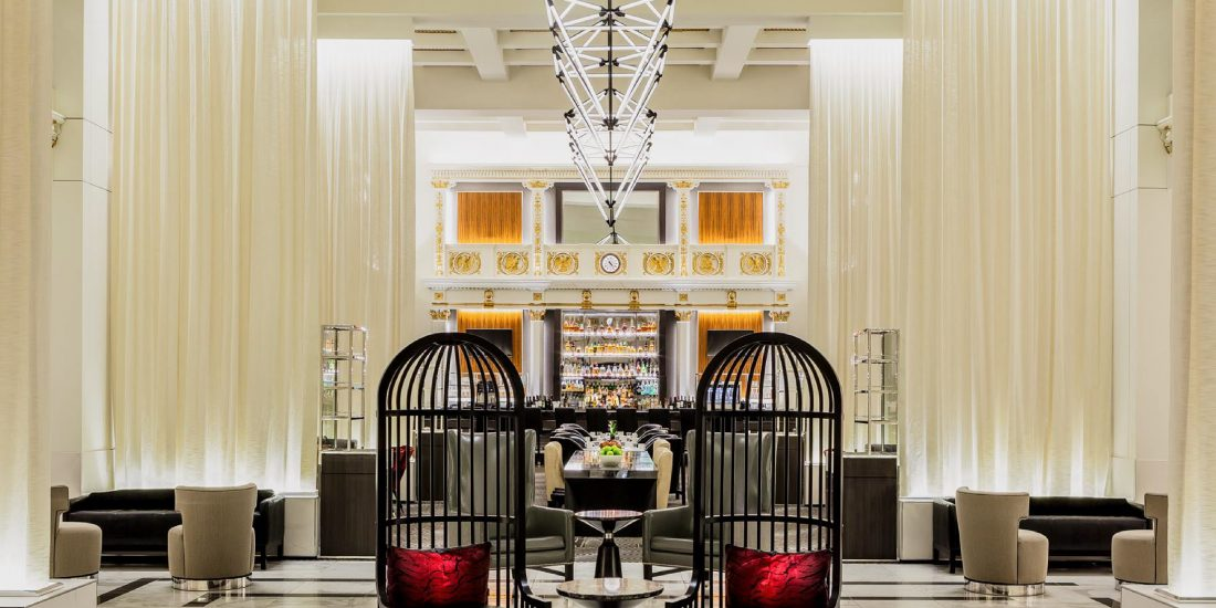 lobby bar and lounge at historic Boston Park Plaza in Massachusetts, MA, multimillion-dollar hotel renovation
