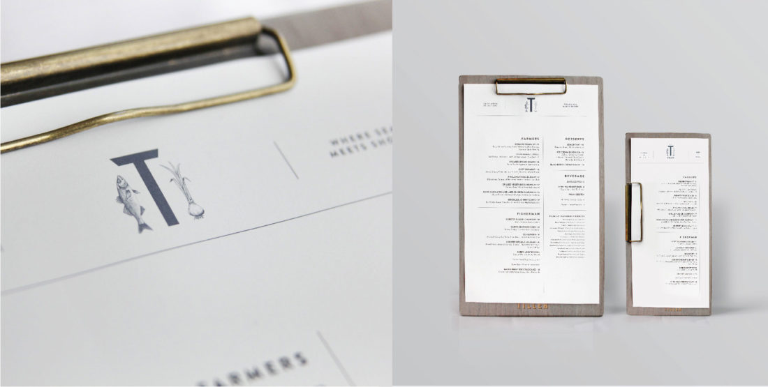 wood wooden menu board with bronze clip, contemporary layout design by Stellabean branding agency in NY