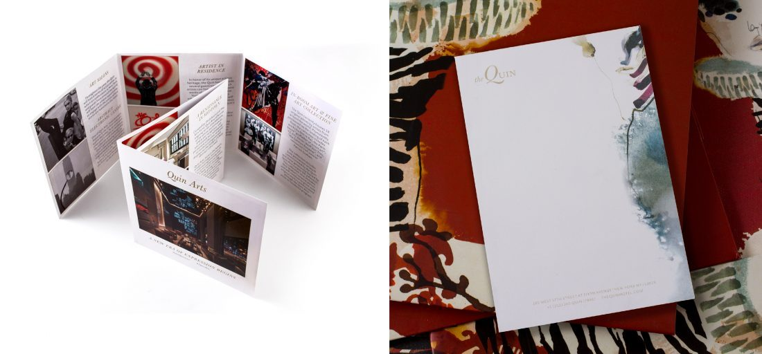 printed collateral for Quin Arts program, trifold tri fold brochure design, guest room notepad note pad at hotel