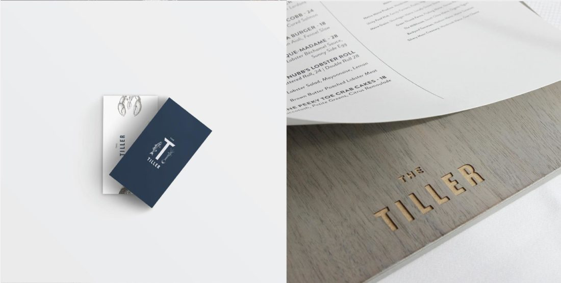 creative business card design for restaurant employees, brand naming and logo creation, printed dinner menu