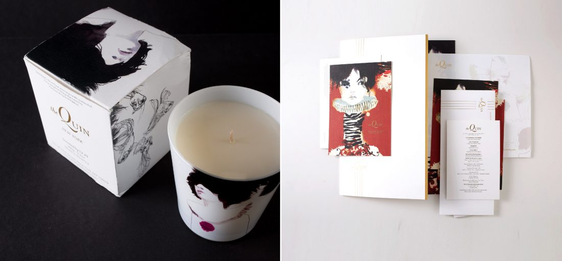 custom hotel brand candle, packaging box design, branded print collateral, card, notepad, envelope, notecard