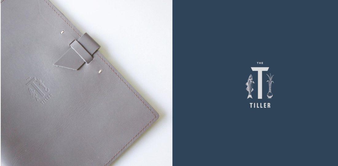 custom design gray leather menu folder binder, unique brand logo with hybrid of sea and vegetable illustrations