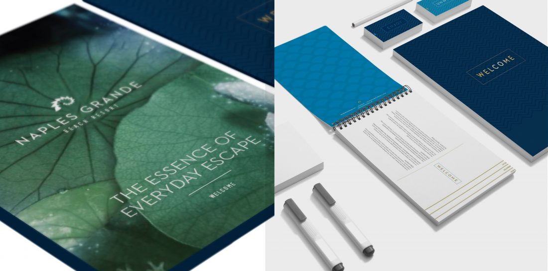 creative marketing campaign ad for independent hotel resort brand, visual identity and print collateral design