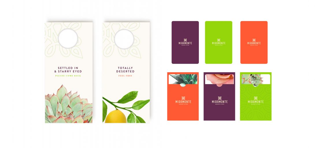 macro botanical photography on hotel do not disturb DND door hangers, key cards in vibrant color palette