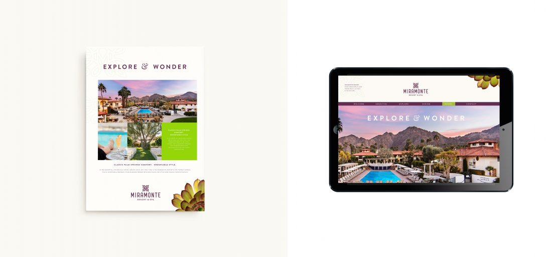 creative fact sheet layout with botanical imagery, sculptural succulents, immersive website, web design on iPad