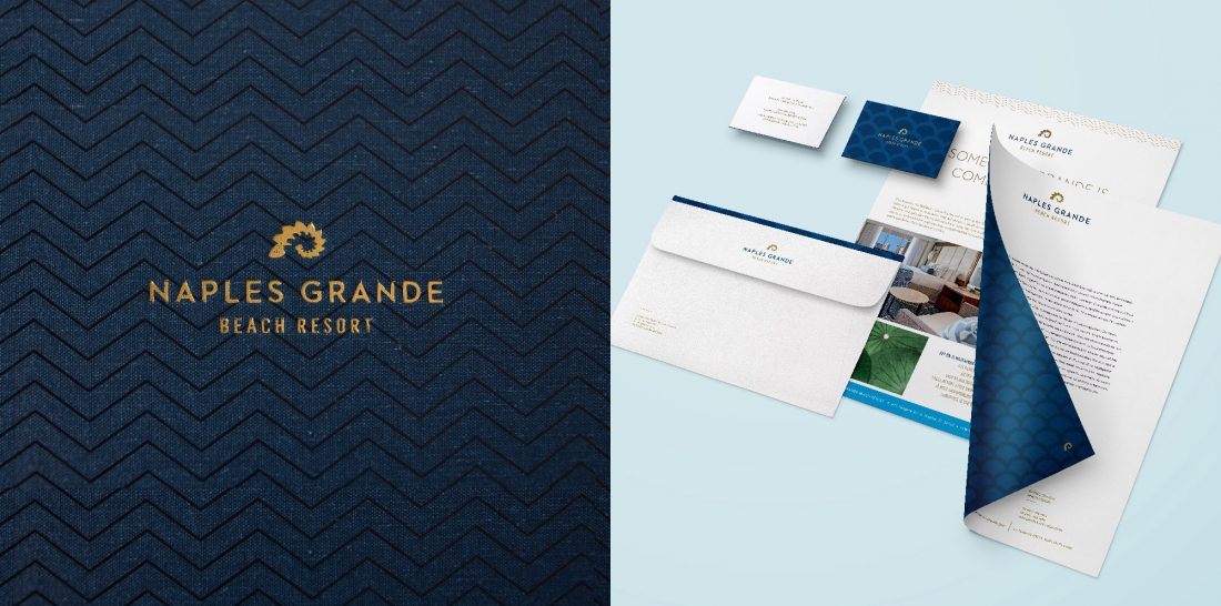 unique logo for eco beach resort in Naples, Florida, print collateral by Stellabean full service creative agency