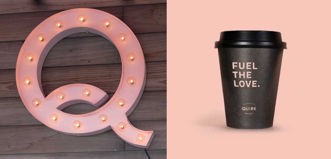 hospitality brand collateral, innovative sign with lights for hotel restaurant, creative to go cup design for cafe