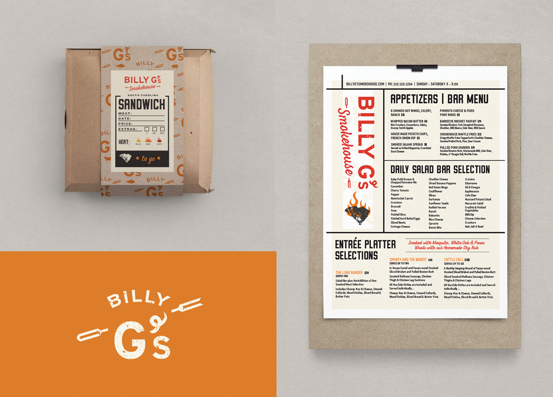 barbecue restaurant naming, custom logo, food packaging box label design, menu layout