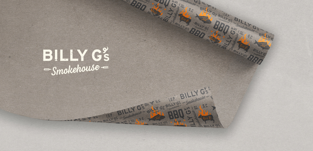 creative logo by branding agency, food wrap packaging, custom printed grey wrapping paper design