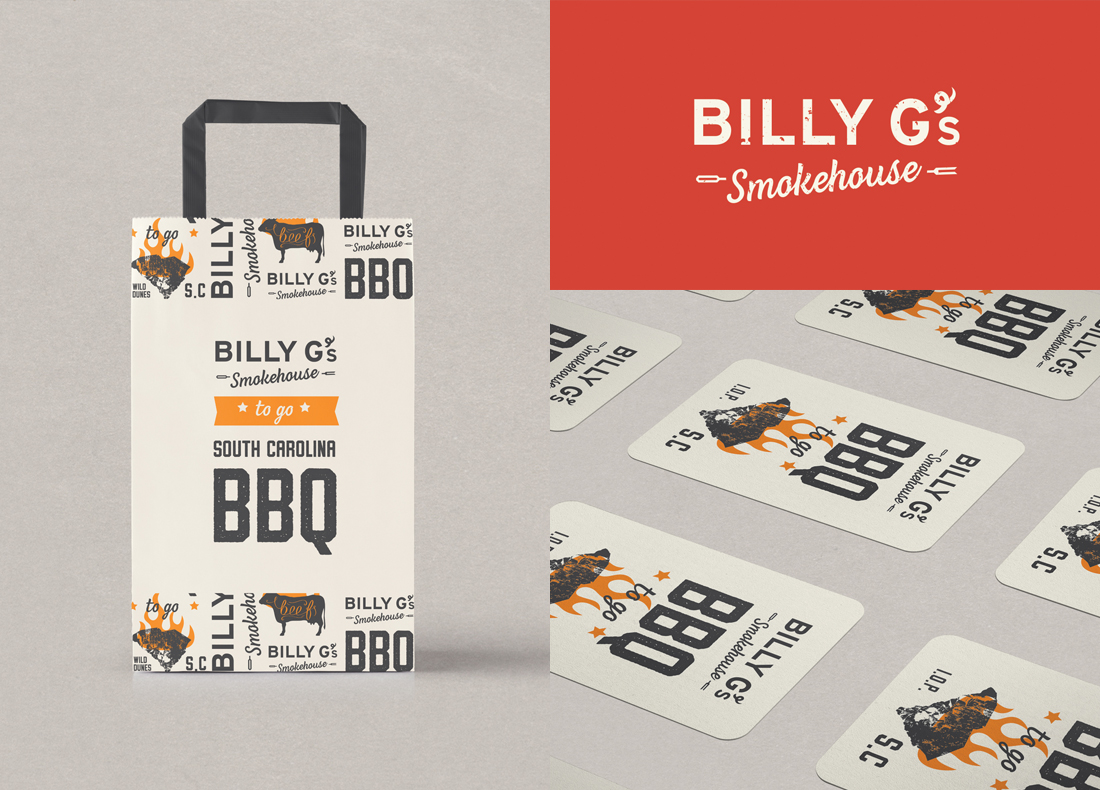 BBQ restaurant at Wild Dunes Resort in Charleston, South Carolina, bold logo, to go bag design, business cards
