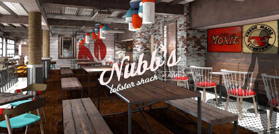 interior and custom logo design for Nubb's Lobster Shack at Cliff House resort in Cape Neddick, Maine
