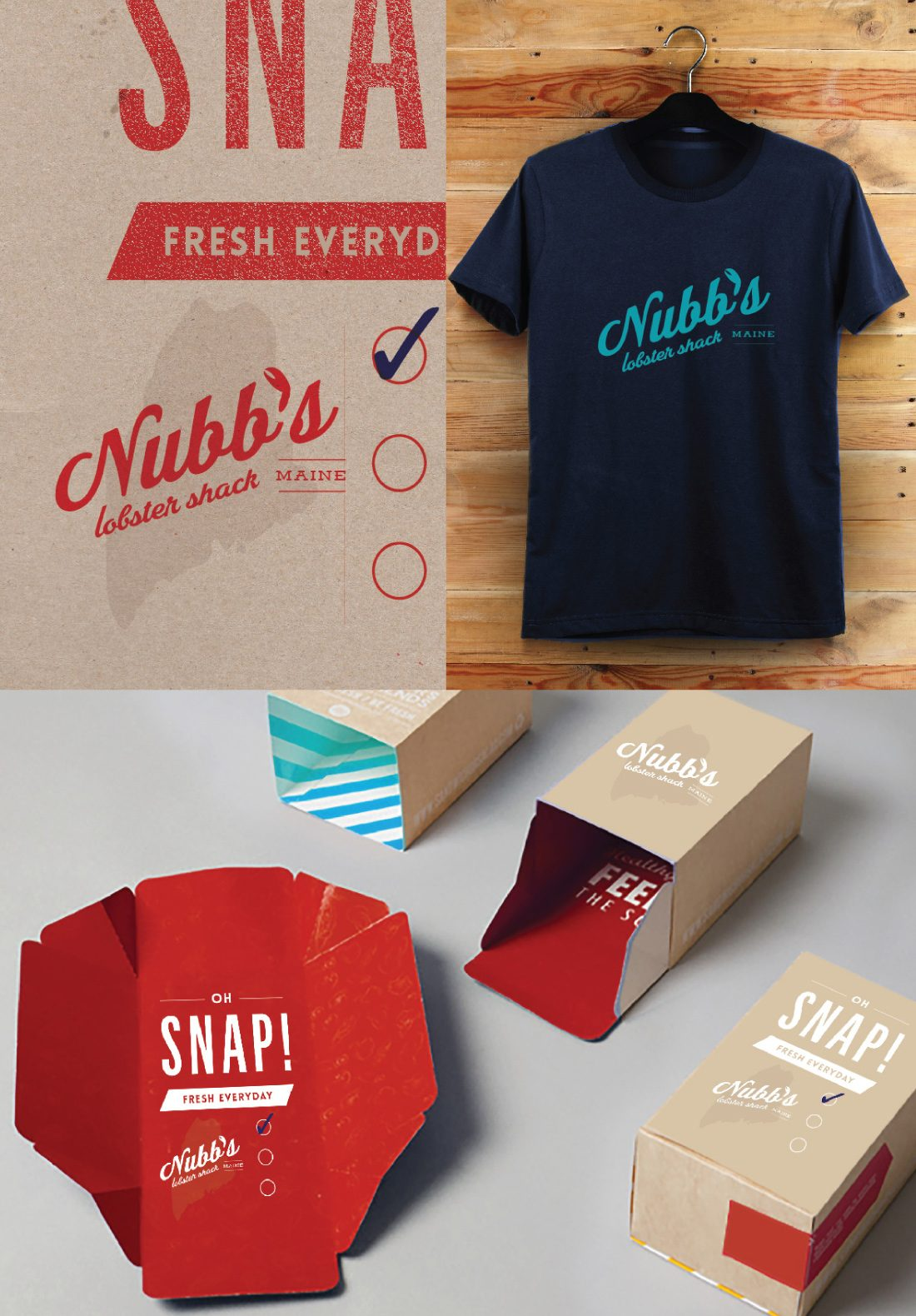 hotel restaurant logo with retro font and lobster claw on t-shirt, typography and packaging by branding agency