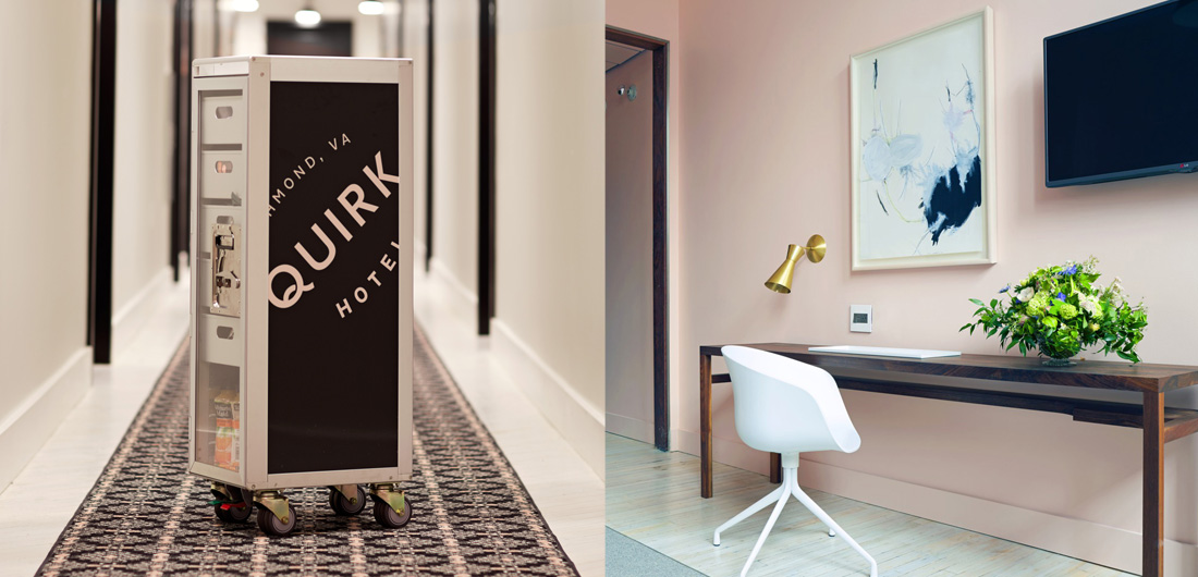 branded beverage cart in hallway, Quirk Hotel light pink custom logo, artsy guest room with wall art illustration