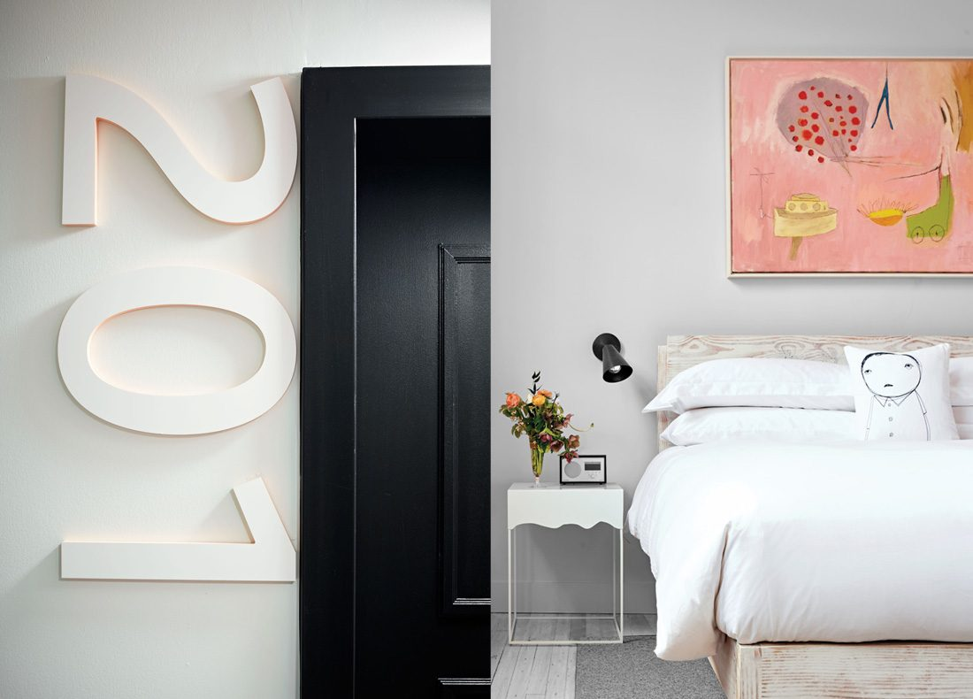 guest rooms at Quirk Hotel in Richmond, VA with playful whimsical style, brand identity by creative agency