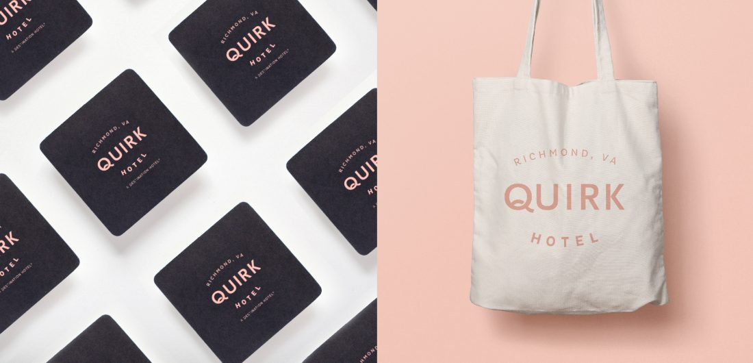 print collateral, black square business cards with rounded corners, tote bag with custom logo design