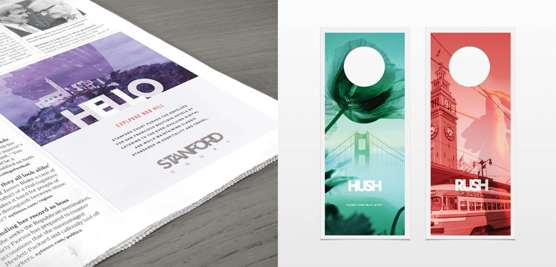 hotel ad in newspaper, hospitality marketing, print collateral, creative do not disturb signs by branding agency