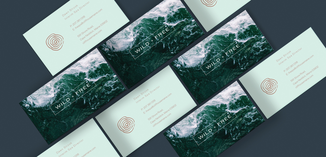 ocean wave photo image on business cards with wild free text and nature mark graphic design
