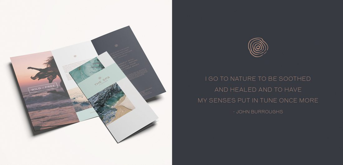 Maine hotel spa trifold brochure, threefold layout design, custom graphic mark, John Burroughs nature quote