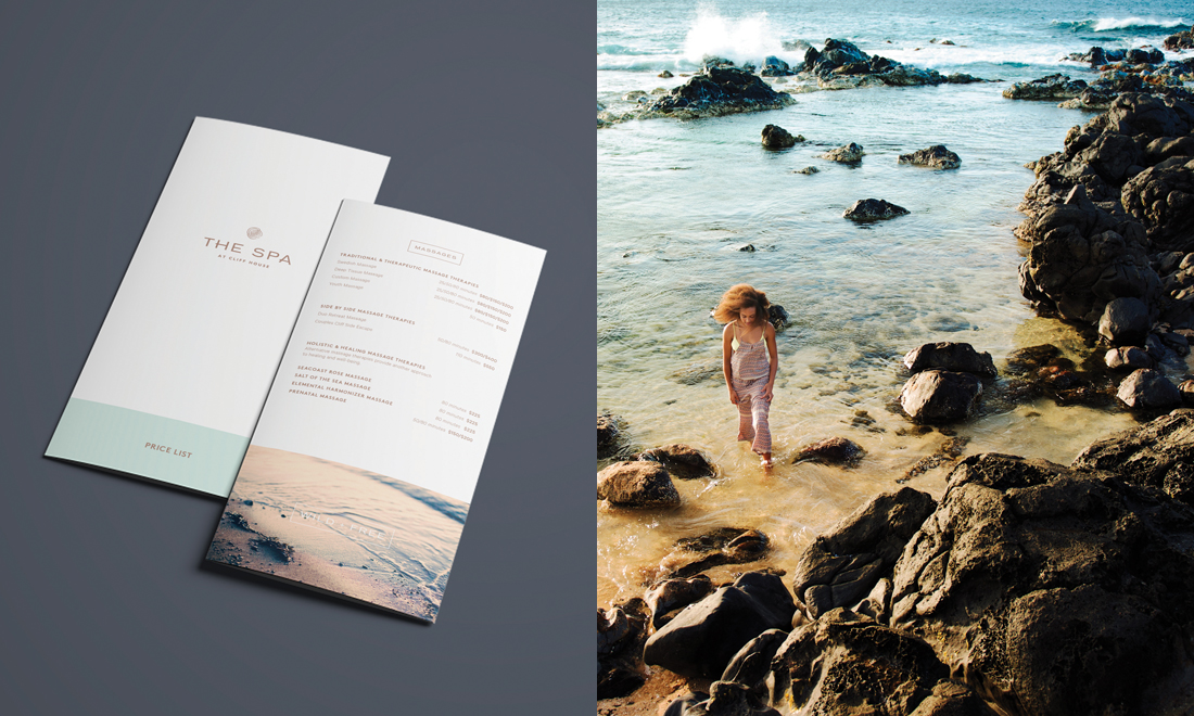 bi-fold spa brochure layout with custom logo in muted color palette, woman walking around Maine ocean rocks