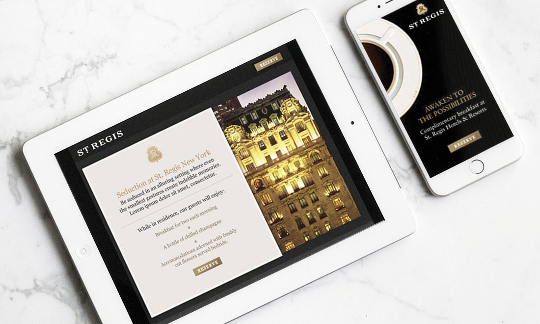 interactive hospitality website, intuitive user experience design on mobile devices, digital marketing collateral