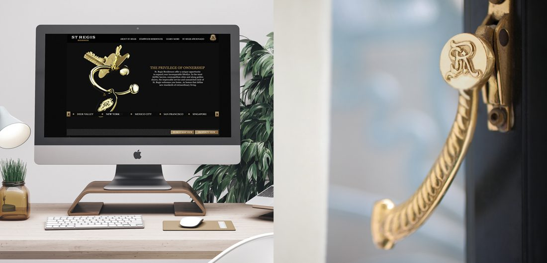 hospitality brand website design by creative agency, ornate gold window handle with residences emblem